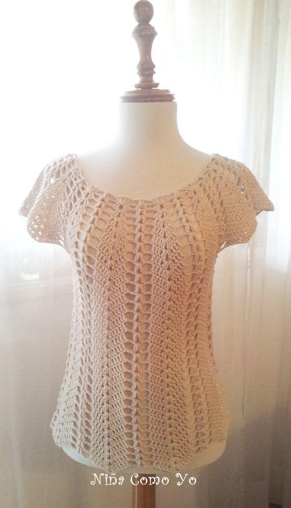 blusa calada de algodón