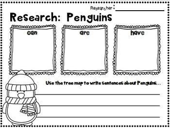 "FREEBIE in the PREVIEW!!!  Penguins~ Informational Text and Literature Mini Unit for 1st-2nd Grades!  This is a great mini unit for learning how to do ""simple research""!  PENGUINS are SNOW much FUN!"