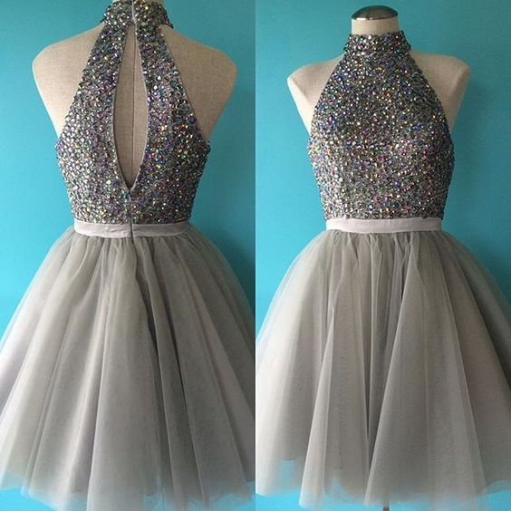 Halter Tulle Beaded Prom Dress,Sexy Prom Dress,Short Prom