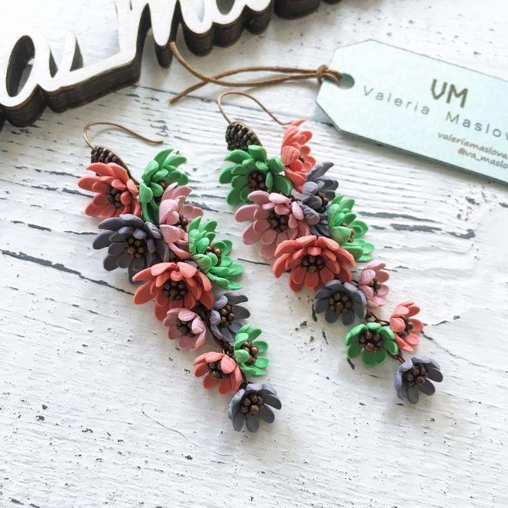 Цветочные серьги пушистые зеленый-розовый-серый