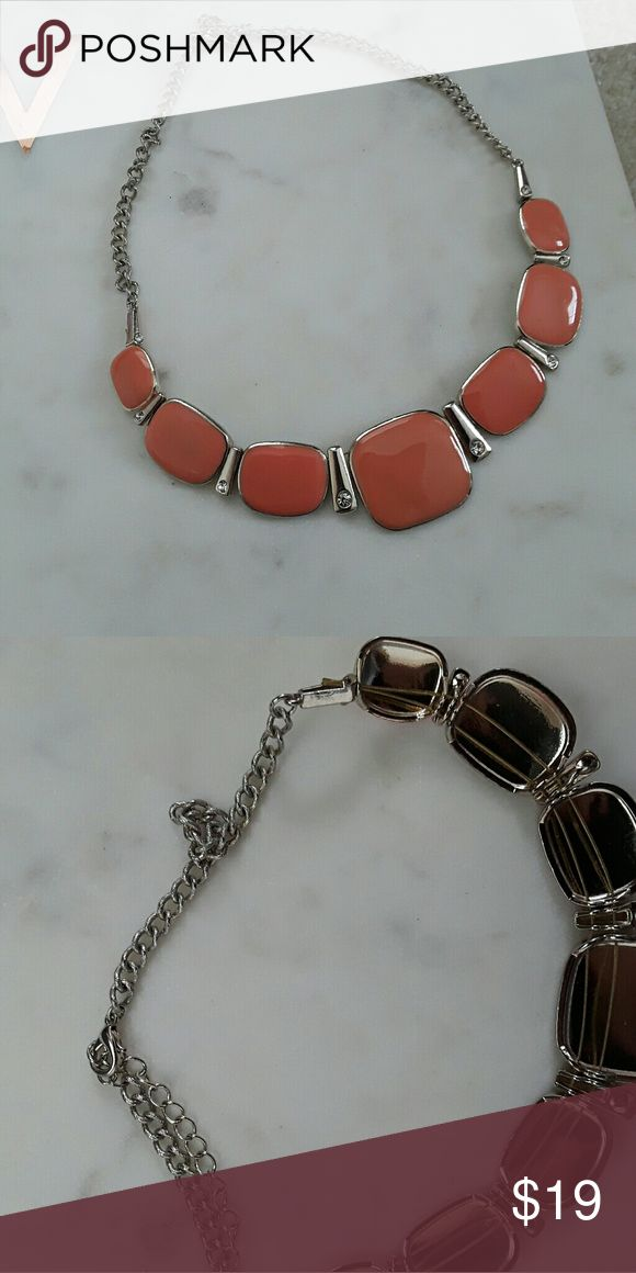 jcrew womens orange statement necklace coral squar excellent condition with no flaws. I believe it was purchased from JCrew. J. Crew Jewelry Necklaces