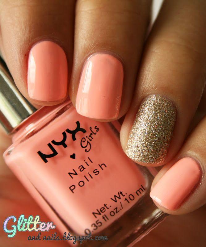 coral pink + gold sparkle. love it: Nail Polish, China Glaze, Makeup, Gold Sparkle, Nails, Naked Pink, Nail Art, Nyx Naked