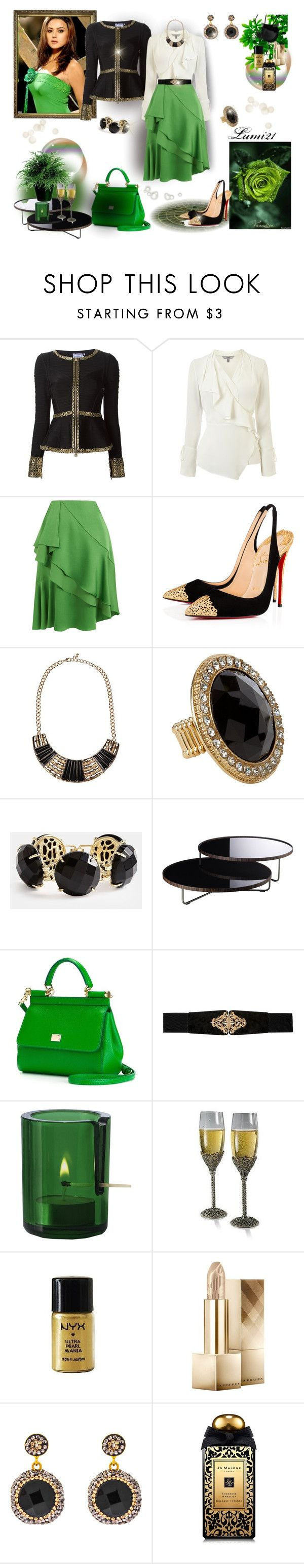 """green"" by lumi-21 ❤ liked on Polyvore featuring Hervé Léger, Lanvin, Christian Louboutin, Kendra Scott, Modloft, Dolce&Gabbana, Forever New, Muuto, Burberry and Soru Jewellery"
