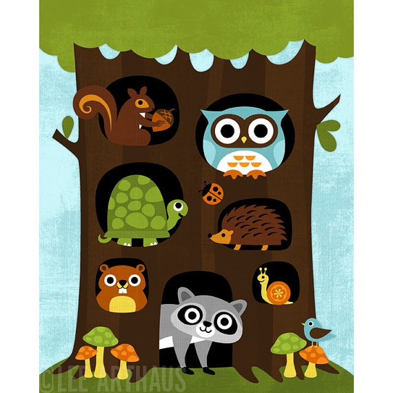 """Woodlands Animals in Big Tree"" © by Nancy Lee of Lee ArtHaus @ etsy.com"