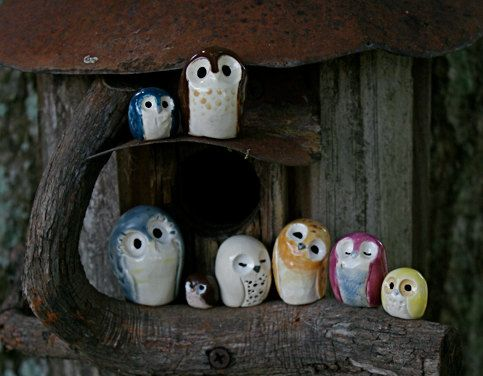 Owls!  I think it is time to get my clay out. Very cool little critters!