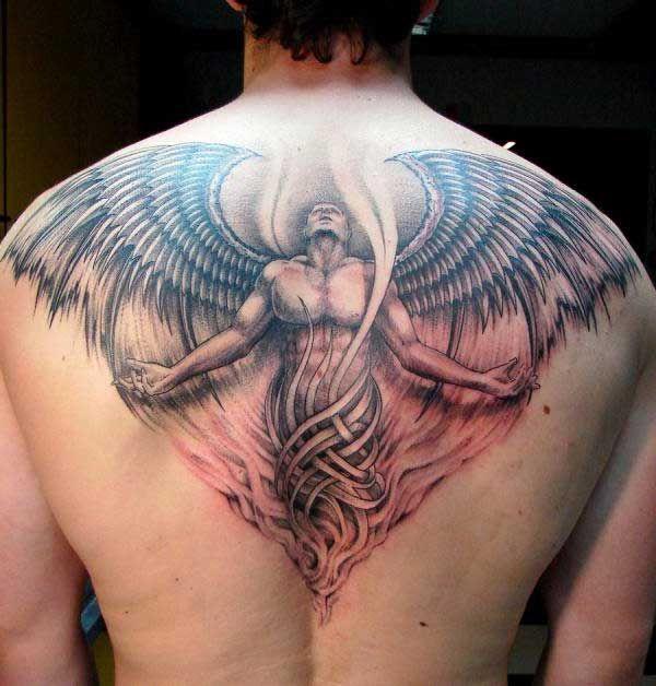 erkek sırt melek dövmesi angel man tattoo