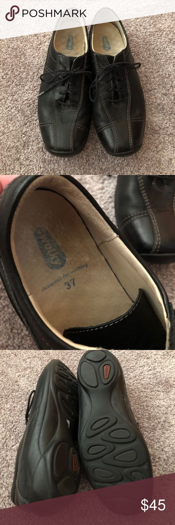 Wolky 37 black shoes Very well made, soft leather, lace up shoes. Excellent condition! Wolky Shoes Flats & Loafers