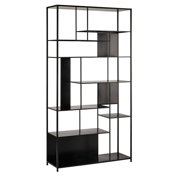 tagre en mtal noire l cm with etagere murale maison du monde. Black Bedroom Furniture Sets. Home Design Ideas