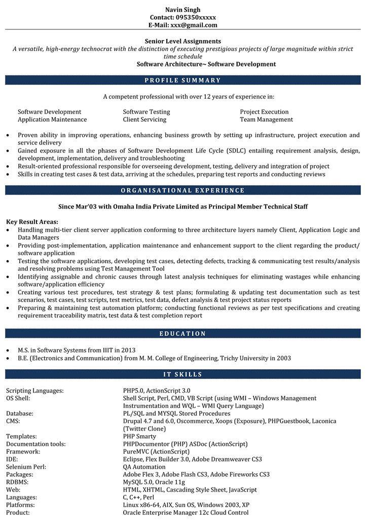 Resume Format 6 Years Software Engineer Engineer Format Resume Software Years Resume Software Sample Resume Templates Resume Format