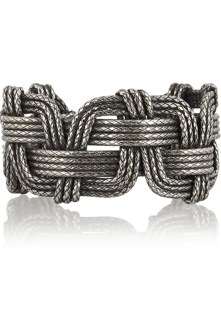 Bottega Veneta|Intrecciato antiqued sterling silver cuff|NET-A-PORTER.COM
