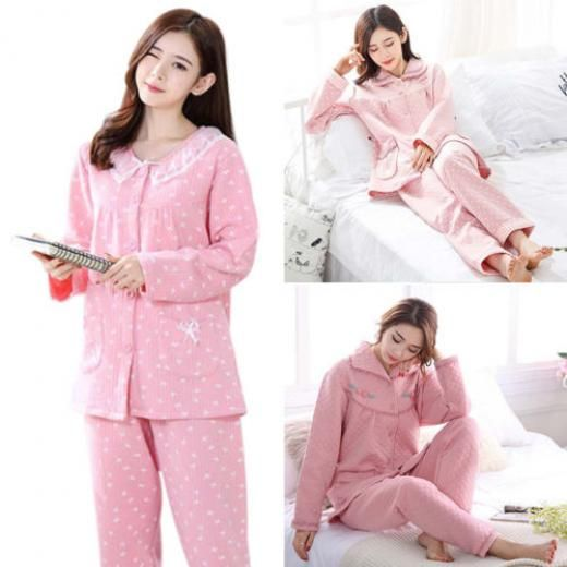 Hot Ladies Pajama Set Long Sleeve Tops & Pants Super Comfy Home Leisure Clothes No Pattern Sets Option Sizes Are All Available Colors Everyday Cotton Blend Regular China