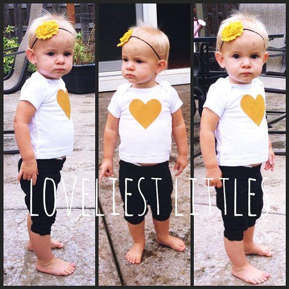 Mustard Yellow Heart T Shirt Toddler Baby Girl