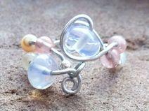 Silber Ring mit Mondstein,Opal und Cherryquarz