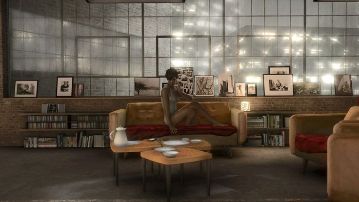 Madison Paige's apartment from Heavy Rain. I like the factory windows and the photo arrangements. Possible living room for Ben.