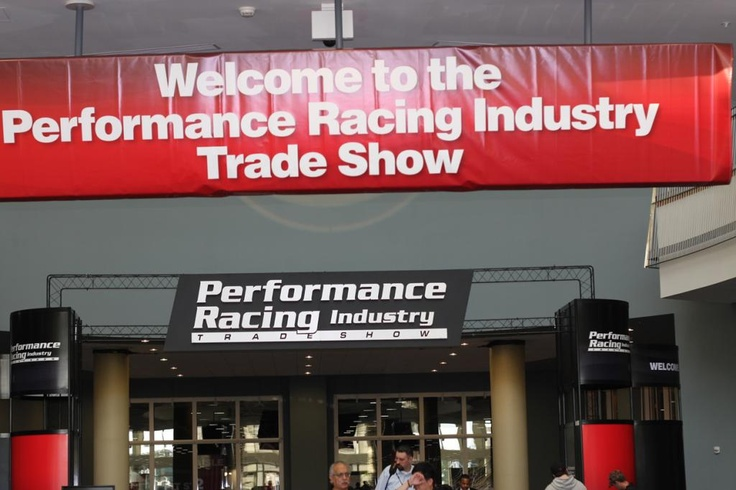 A banner greets the guests of the 2012 Performance Racing Industry show.