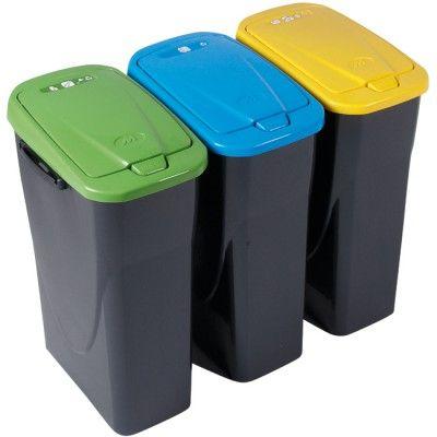 Poubelle tri sélectif à rabat 25 L, dim. 36x24x50 cm, plastique. La couleur jaune concerne les emballages plastiques vides. Vendue seule (la poubelle bleue est vendue sous la réf. 311842 et la verte sous la réf. 311844).