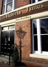 Picture of the front of Victoria james Bespoke Jewellery shop store. Jewellery Quarter Birmingham.