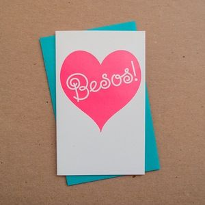 Besos // spanish kisses letterpress card by Anemone Letterpress