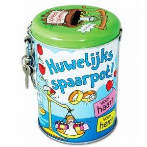 Deze knallende spaarpot zit vol humor en originaliteit! De Spaarpotten zijn leuk om te vullen met geld, <br>maar ook met snoep! Tekst: Huwelijks spaarpot! Voor haar! Voor hem! Hoogte: 10.5 x 7.5cm. foto 1