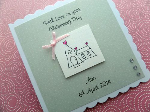 Beautiful Handmade Christening Card available at www.sugarplumcards.com