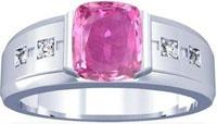 Platinum Cushion Cut Pink Sapphire Mens Ring