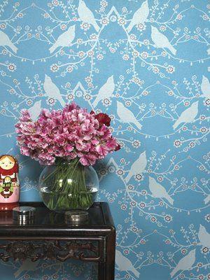 Porters paint wallpaperCherries Blossoms, Birds Wallpapers, Painting Wallpapers, Porter Painting, Interiors Design, Catherine Martin, Martin Wallpapers, Catherine Zeta-Jon, Laundry Room