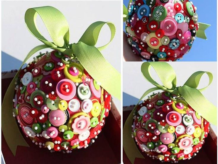 How To Make Cute Xmas Pendant Balls With Buttons Step By DIY Tutorial Instructions