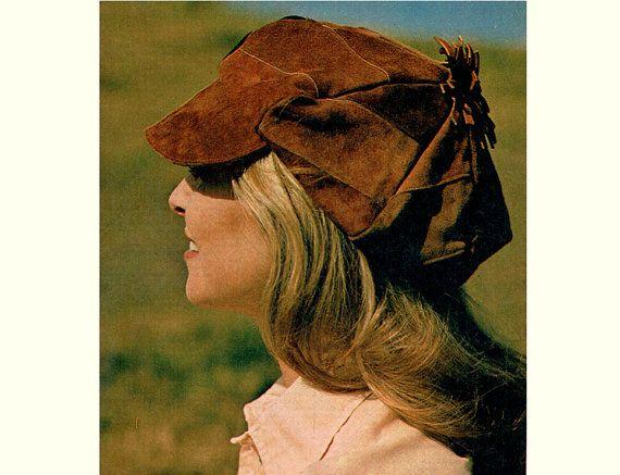 PDF Vintage 1970s Womens Ladies Suede Baker Boy Cap Sewing