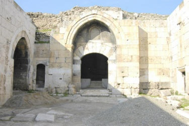 Ak Han Kervansaray, Turkey built c. 1253-1254 - a typical example of Seljuk Caravanserai architecture. It is located near Denizli along the Silk Routes of Turkey. The 13th century Caravanserai was built on a flat plain that allowed travelers, enemies or robbers to be seen from a considerable distance.