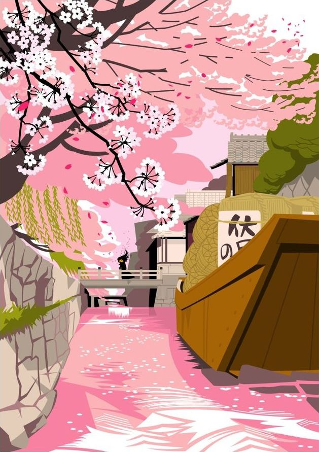 Japanese Illustration: Cherry blossoms along the river. Gaku Nakagawa. 2008
