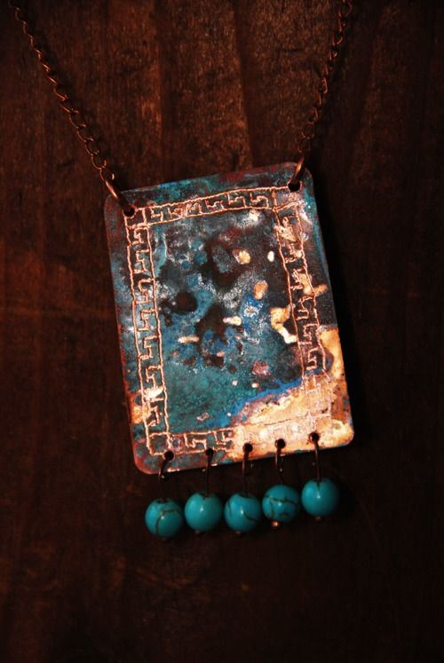 Patina copper #necklace with turquoise