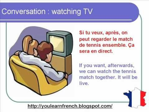 French Lesson 73 - Watching TV - Informal Dialogue Conversation Hobbies + English subtitles