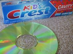 Takes scratches of DVDs, Cds, and a Wii game like a charm every time. One DVD with a really bad scratch needed to do twice... Kids Crest toothpaste and a soft cloth and a sink! Done!#Repin By:Pinterest++ for iPad#