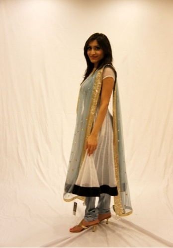 This delicate kota amarkali is a two layered dress with a contrast blue lining. The soft cloud grey shade makes anyone look elegant.    for more designs, http://www.czari.in/women