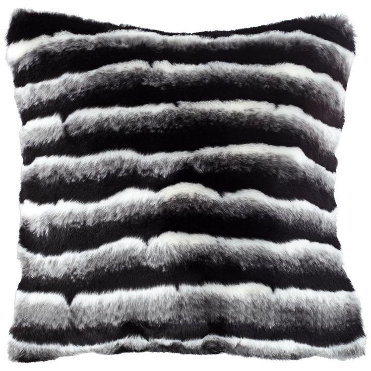 blue h out supersoft cushion front pillow faux russian cut fur black