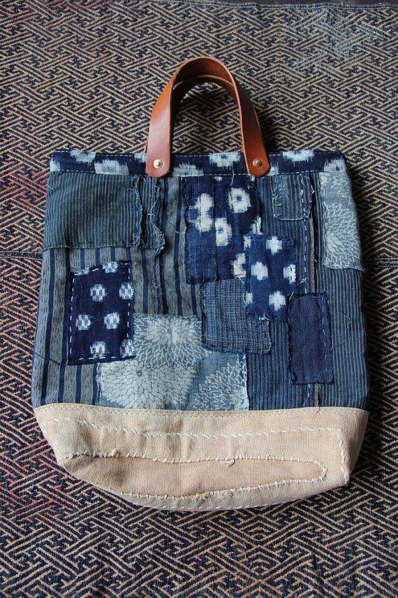 Boro tote bag , made of japanese indigodyed cotton,vintage japanese kasuri and japanese noragi textile with a lot of vintage japanese textiles.