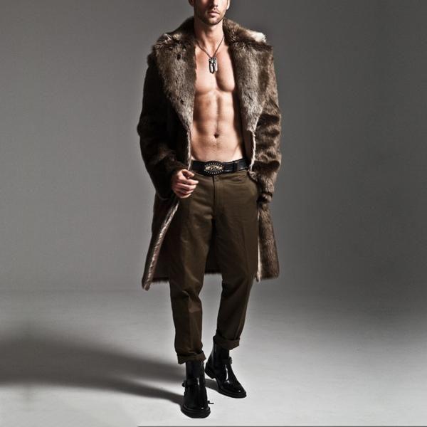 Men's Winter Long Coat I(Faux Leather & Fur)