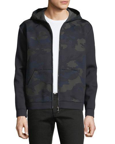 Zip-Front Camouflage Hoodie