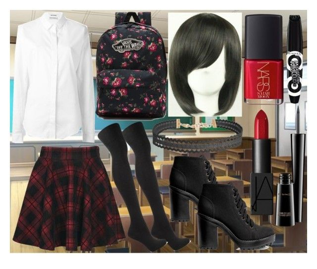 School day by slytheriner on Polyvore featuring Anthony Vaccarello, Frame Denim, Boohoo, H&M, Vans, Humble Chic, Rimmel, NARS Cosmetics and MAC Cosmetics
