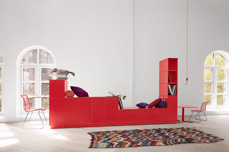 Montana red modules in a horisontal composition. #montana #furniture #danish #design #interior #inspiration #storage  #red #rouge #indretning #inredning