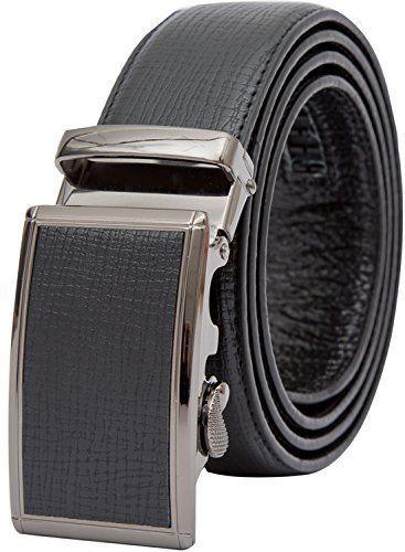 Genuine Leather Belt for Mens Waist Size 42-44 Black Gift Box Automatic Buckle #MensLeatherBelt