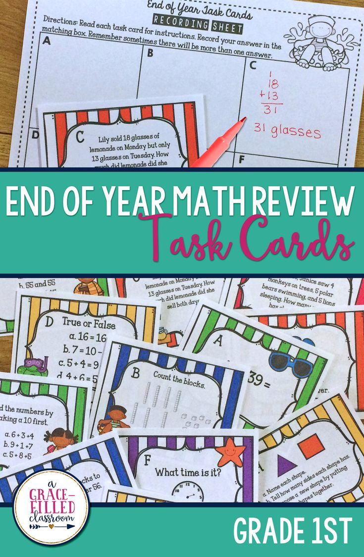 End Of Year Math Task Cards 1st Grade | MD: Mathematics Worksheets ...