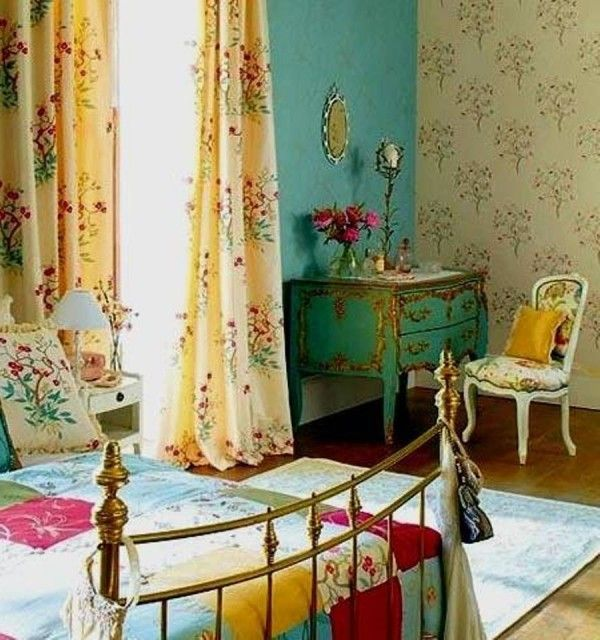 beautiful bohemian bedroom decor with floral chic curtain blue wall and floral wall pattern decor also wooden flooring - Bohemian Bedroom Design