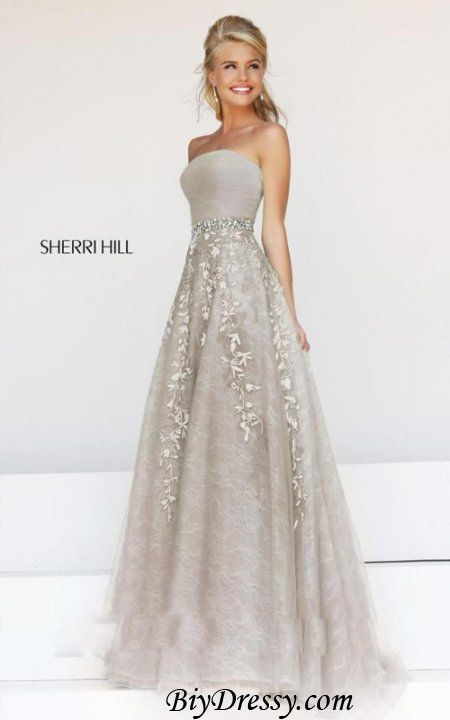 Lace Grey Strapless Sherri Hill 11123 Prom Dress On Sale