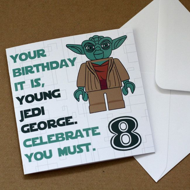 Personalised Lego Star Wars Yoda Birthday Card. £3.00, via Etsy.