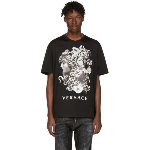 Versace Black Medusa T-Shirt (€310) ❤ liked on Polyvore featuring men's fashion, men's clothing, men's shirts, men's t-shirts, black, mens short sleeve shirts, mens graphic t shirts, mens short sleeve t shirts, versace mens t shirt and versace mens shirt