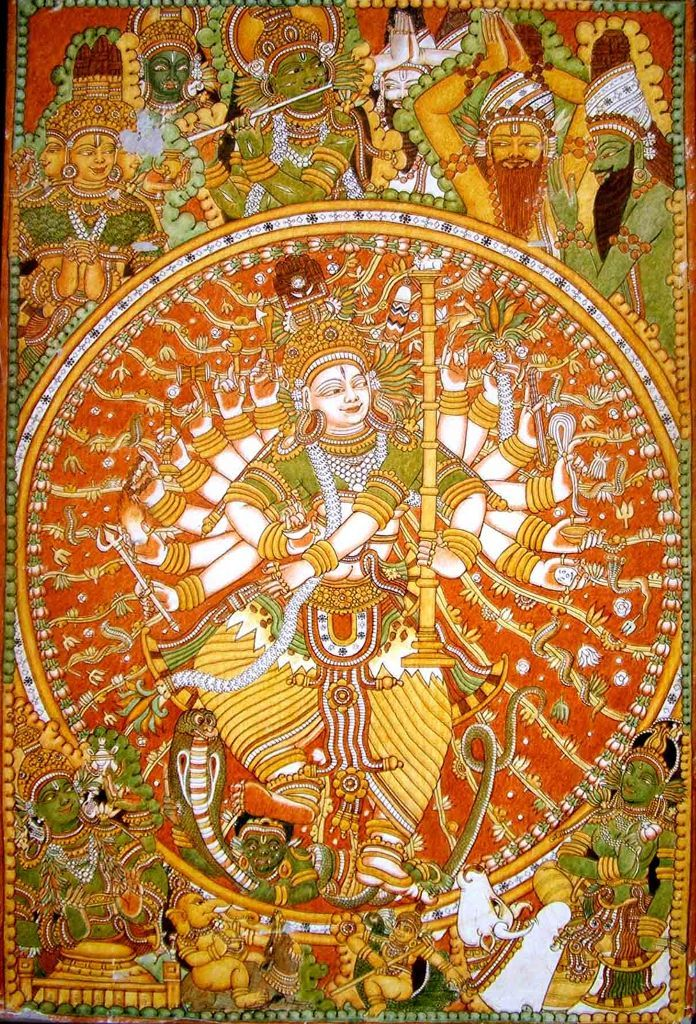 Image result for krishna and radha on swing mural paintings