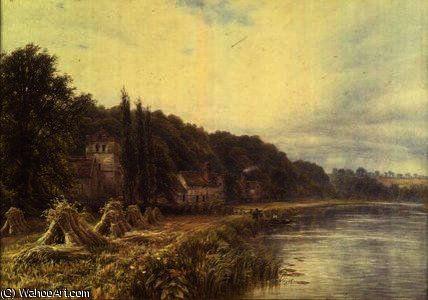 Riverside Village avec des chiffres pêche de Edmund George Warren (1834-1909, United Kingdom)