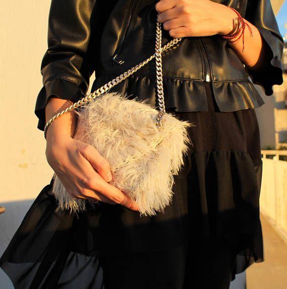 White crossbody bag Faux fur handbag Crossbody clutch Chain