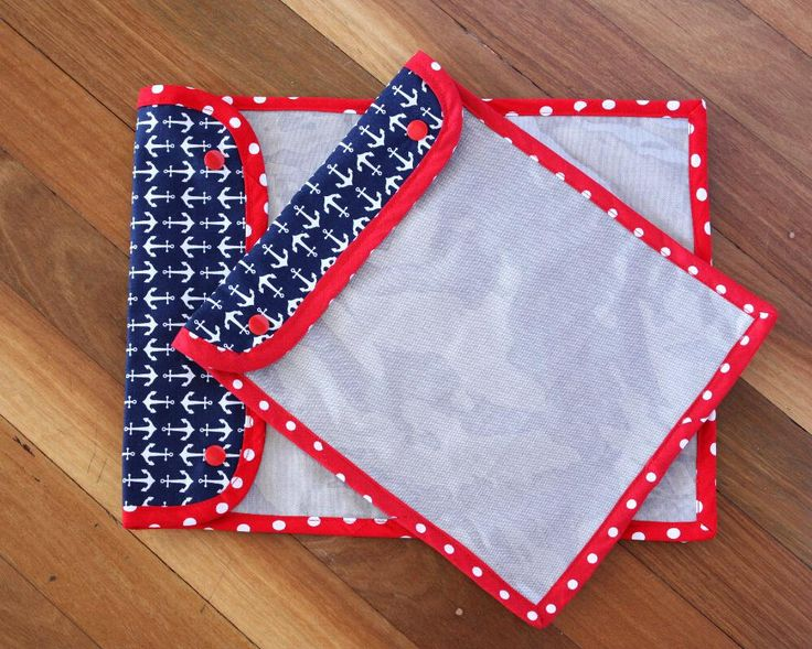 Handmade Puzzle Storage Pouch with see through vinyl cover - 26 x 34cm (10 x 13 inches) - Navy Blue   Red Polka dot   Anchors   Toy storage by LilSisandtheGuru on Etsy